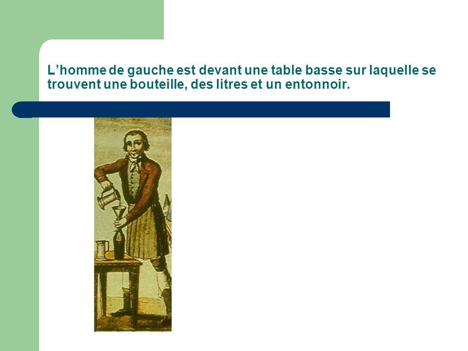 Lhomme de gauche est devant une table basse sur laquelle se trouvent une bouteille, des litres et un entonnoir.