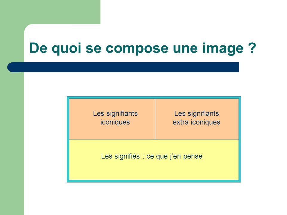 De quoi se compose une image ? Deux types de signifiants : Les signifiés : ce que jen pense Les signifiants extra iconiques Les signifiants iconiques