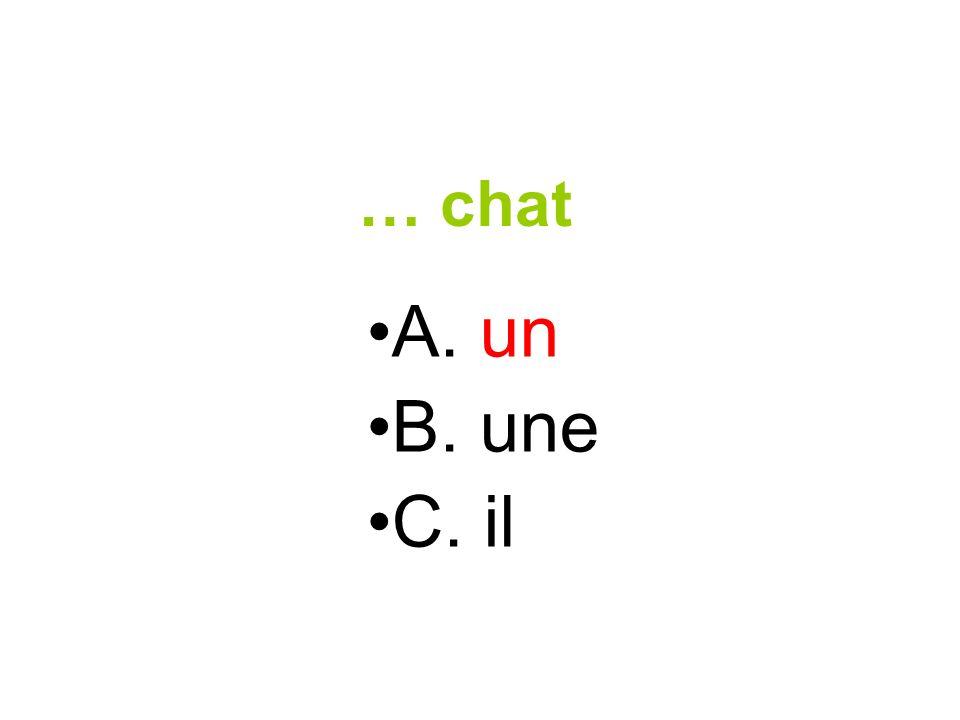 … chat A. un B. une C. il