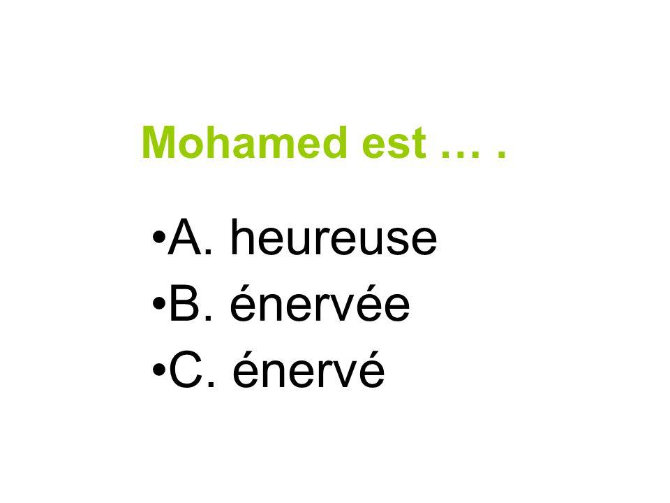 Mohamed est …. A. heureuse B. énervée C. énervé