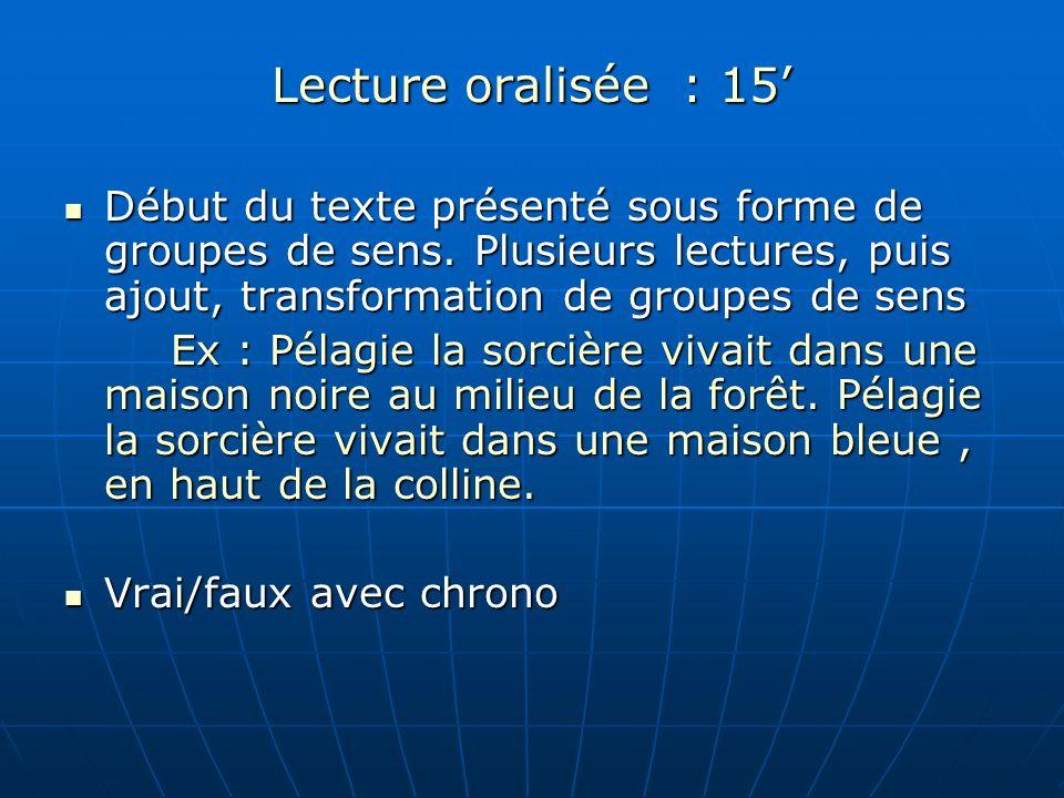 Lecture oralisée : 15 Début du texte présenté sous forme de groupes de sens. Plusieurs lectures, puis ajout, transformation de groupes de sens Début d
