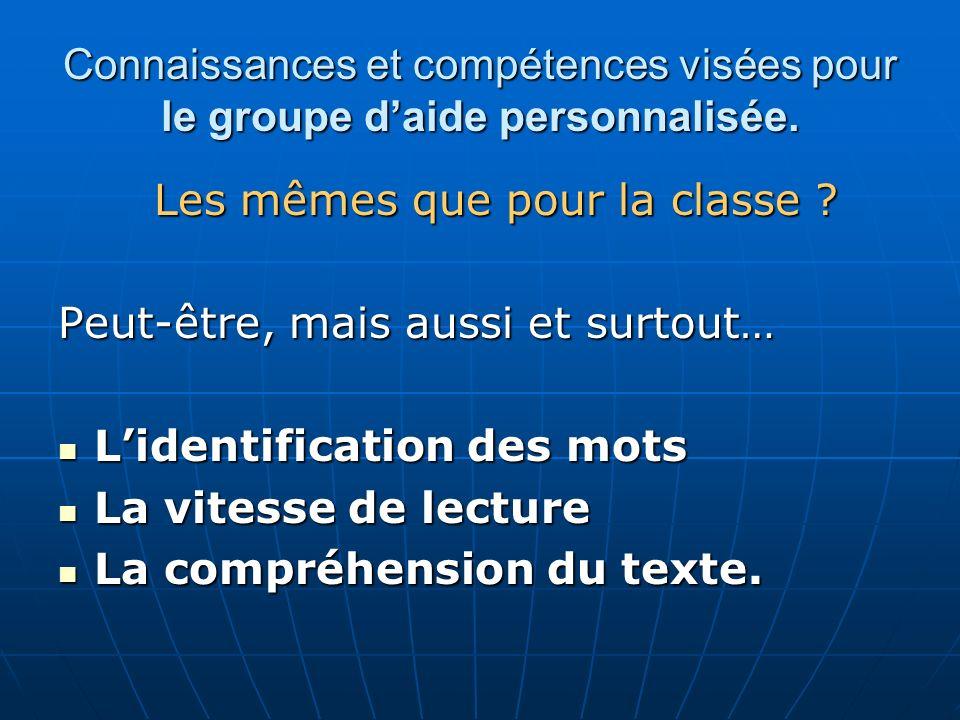 Connaissances et compétences visées pour le groupe daide personnalisée. Les mêmes que pour la classe ? Peut-être, mais aussi et surtout… Lidentificati