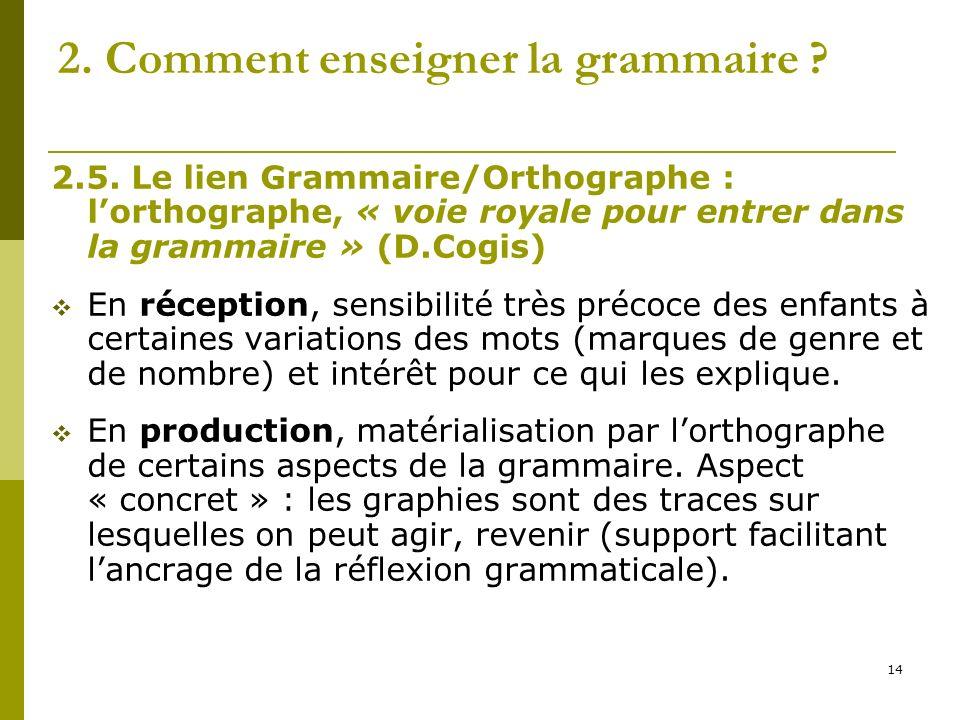 14 2. Comment enseigner la grammaire ? 2.5. Le lien Grammaire/Orthographe : lorthographe, « voie royale pour entrer dans la grammaire » (D.Cogis) En r