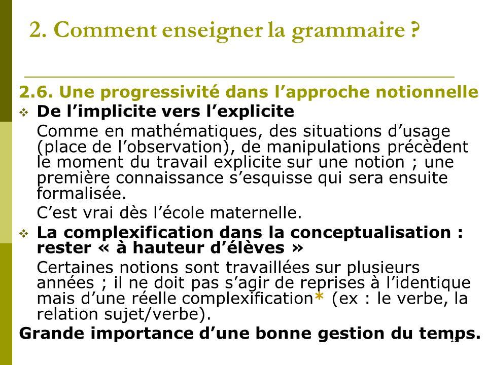 15 2. Comment enseigner la grammaire ? 2.6. Une progressivité dans lapproche notionnelle De limplicite vers lexplicite Comme en mathématiques, des sit