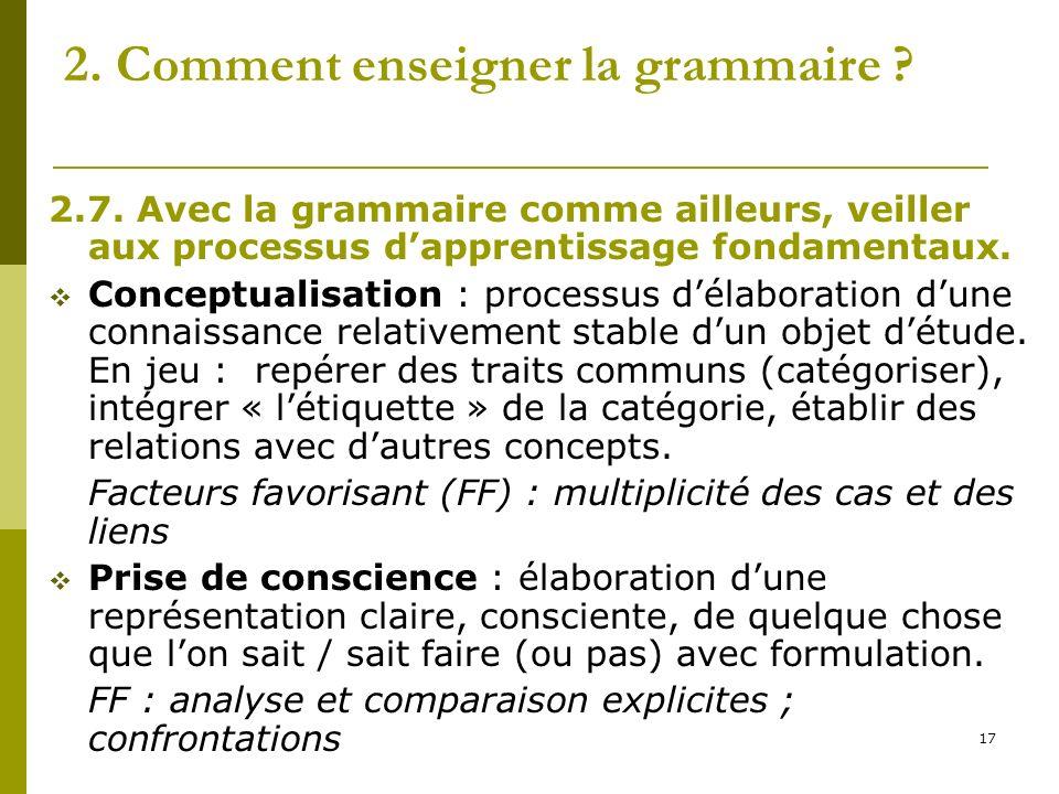 17 2. Comment enseigner la grammaire ? 2.7. Avec la grammaire comme ailleurs, veiller aux processus dapprentissage fondamentaux. Conceptualisation : p