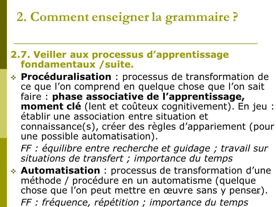 18 2. Comment enseigner la grammaire ? 2.7. Veiller aux processus dapprentissage fondamentaux /suite. Procéduralisation : processus de transformation