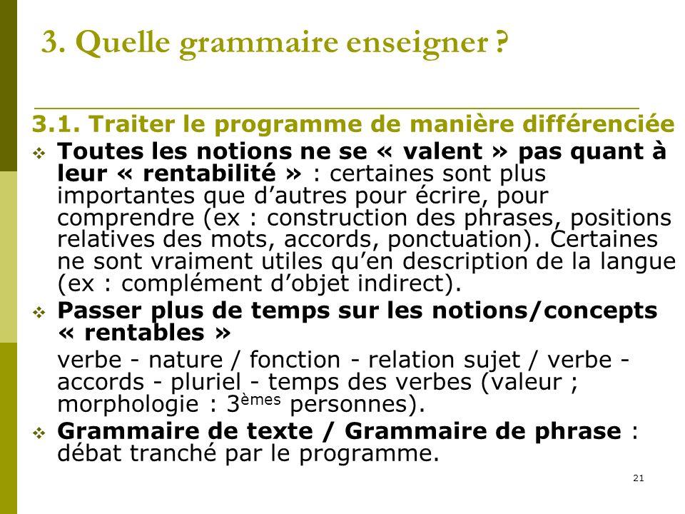 21 3. Quelle grammaire enseigner ? 3.1. Traiter le programme de manière différenciée Toutes les notions ne se « valent » pas quant à leur « rentabilit