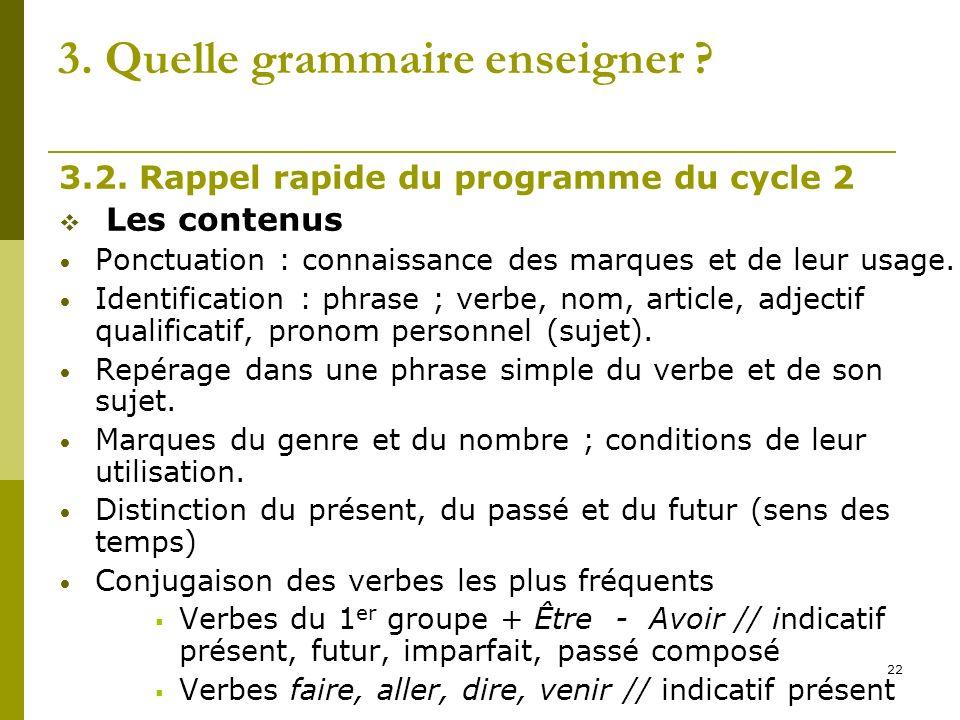 22 3. Quelle grammaire enseigner ? 3.2. Rappel rapide du programme du cycle 2 Les contenus Ponctuation : connaissance des marques et de leur usage. Id