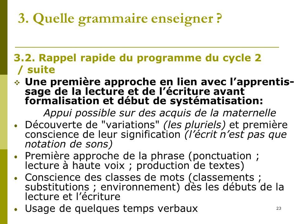 23 3. Quelle grammaire enseigner ? 3.2. Rappel rapide du programme du cycle 2 / suite Une première approche en lien avec lapprentis- sage de la lectur