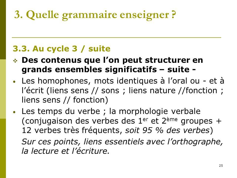 25 3. Quelle grammaire enseigner ? 3.3. Au cycle 3 / suite Des contenus que lon peut structurer en grands ensembles significatifs – suite - Les homoph