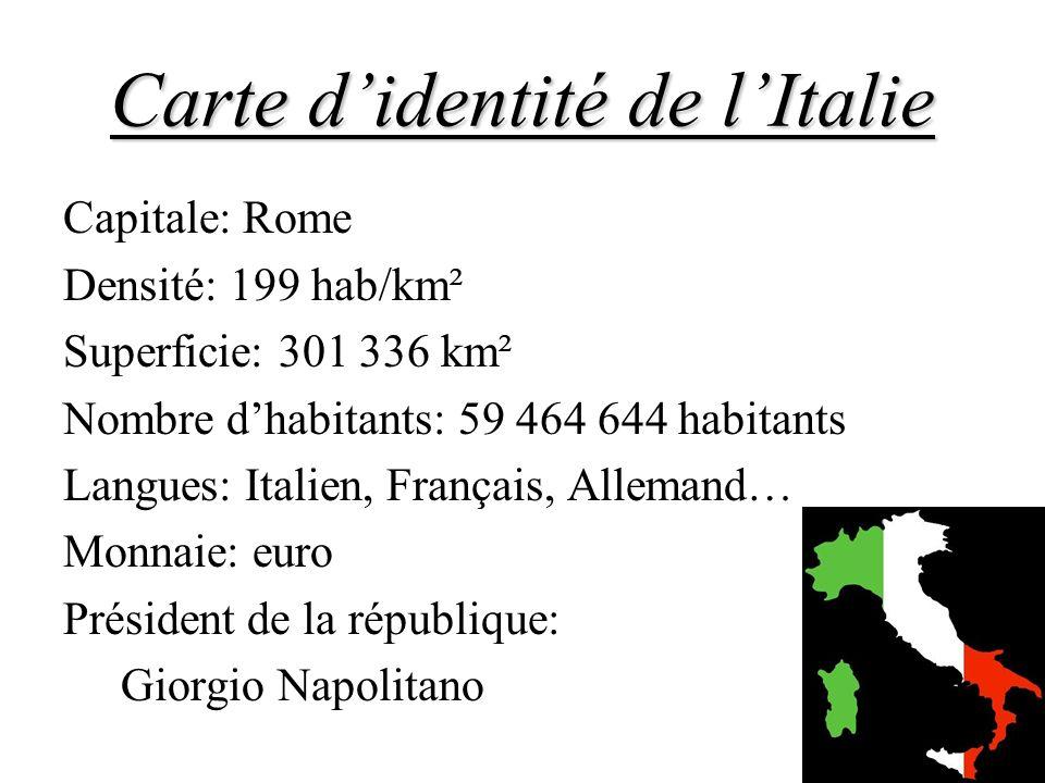 Carte didentité de lItalie Capitale: Rome Densité: 199 hab/km² Superficie: 301 336 km² Nombre dhabitants: 59 464 644 habitants Langues: Italien, Franç