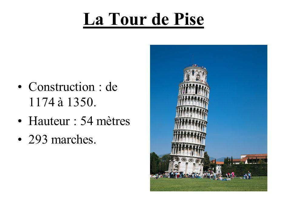 La Tour de Pise Construction : de 1174 à 1350. Hauteur : 54 mètres 293 marches.