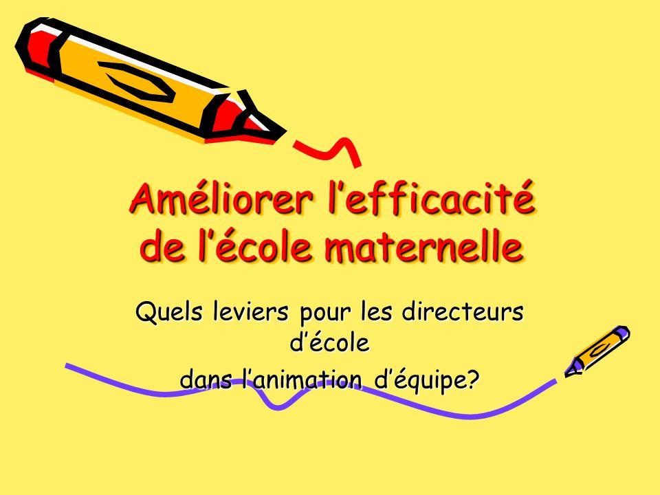 Améliorer lefficacité de lécole maternelle Quels leviers pour les directeurs décole dans lanimation déquipe?