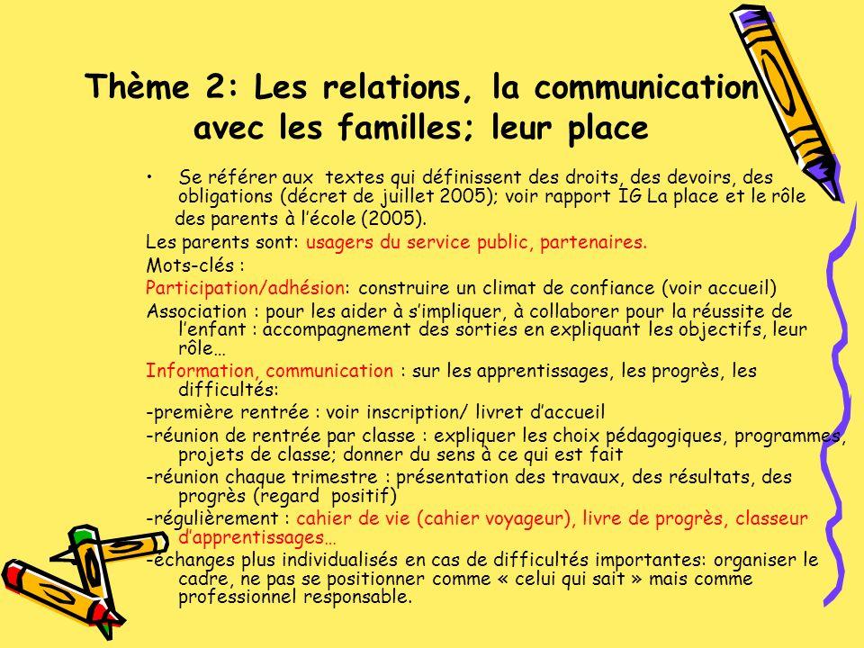 Thème 2: Les relations, la communication avec les familles; leur place Se référer aux textes qui définissent des droits, des devoirs, des obligations