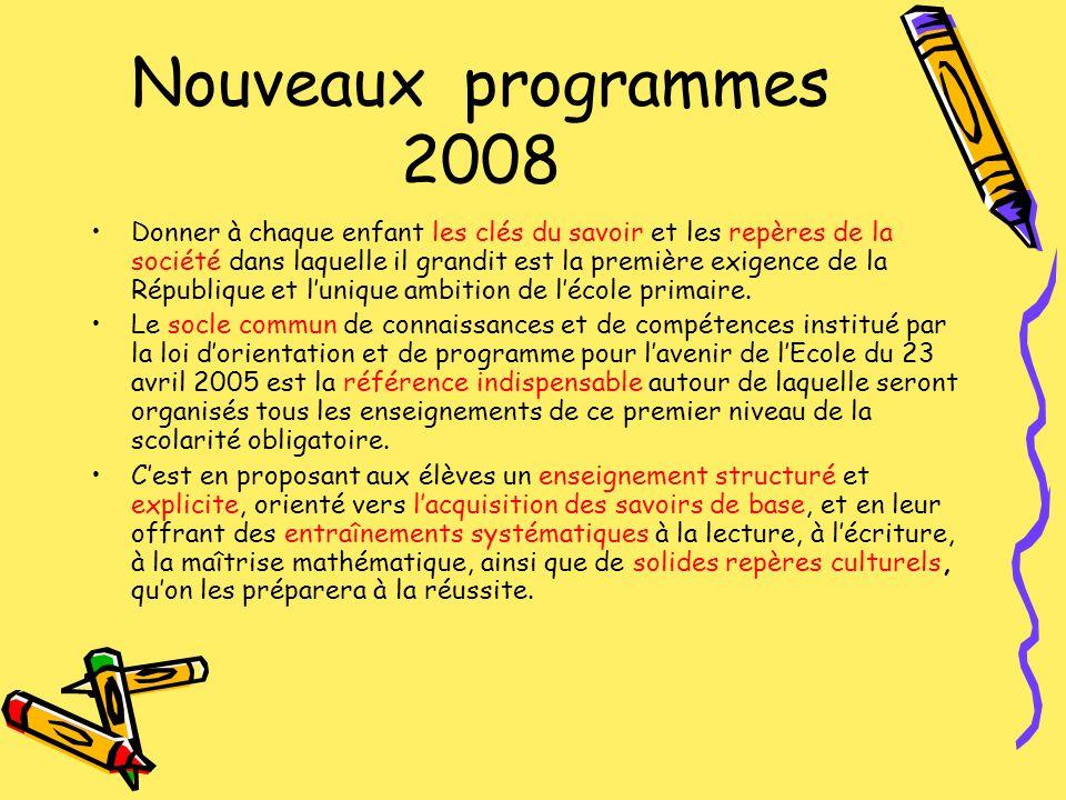 Nouveaux programmes 2008 Donner à chaque enfant les clés du savoir et les repères de la société dans laquelle il grandit est la première exigence de l