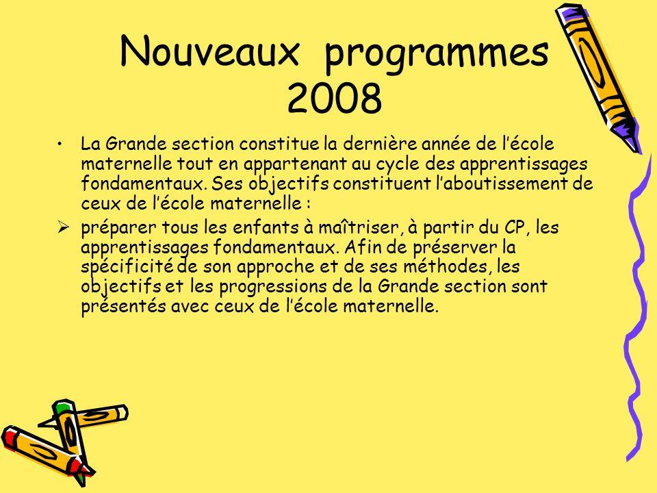 Nouveaux programmes 2008 La Grande section constitue la dernière année de lécole maternelle tout en appartenant au cycle des apprentissages fondamenta