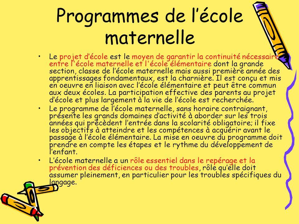 Programmes de lécole maternelle Le projet décole est le moyen de garantir la continuité nécessaire entre l'école maternelle et l'école élémentaire don