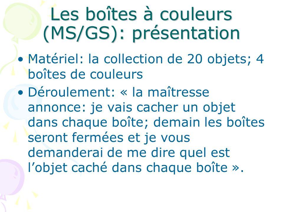 Les boîtes à couleurs (MS/GS): présentation Matériel: la collection de 20 objets; 4 boîtes de couleurs Déroulement: « la maîtresse annonce: je vais ca