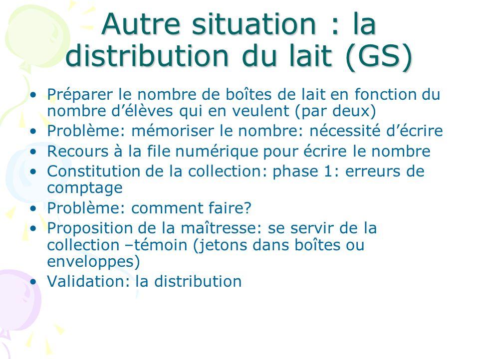 Autre situation : la distribution du lait (GS) Préparer le nombre de boîtes de lait en fonction du nombre délèves qui en veulent (par deux) Problème:
