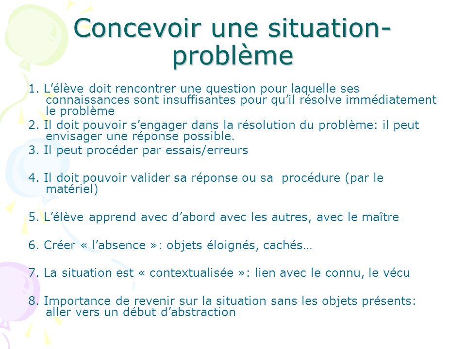 Concevoir une situation- problème 1. Lélève doit rencontrer une question pour laquelle ses connaissances sont insuffisantes pour quil résolve immédiat