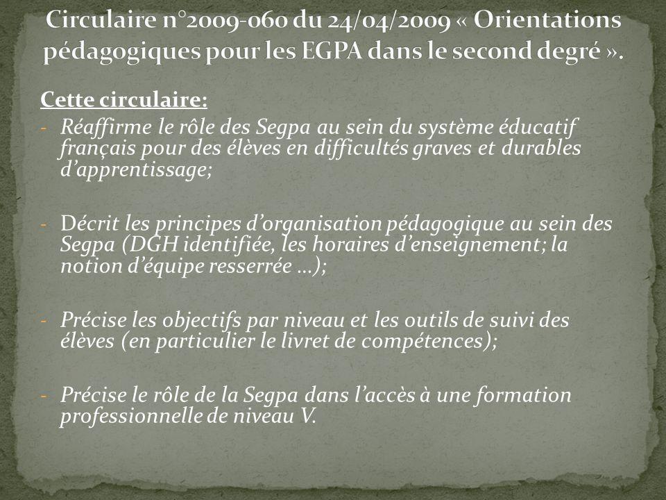 Cette circulaire: - Réaffirme le rôle des Segpa au sein du système éducatif français pour des élèves en difficultés graves et durables dapprentissage;