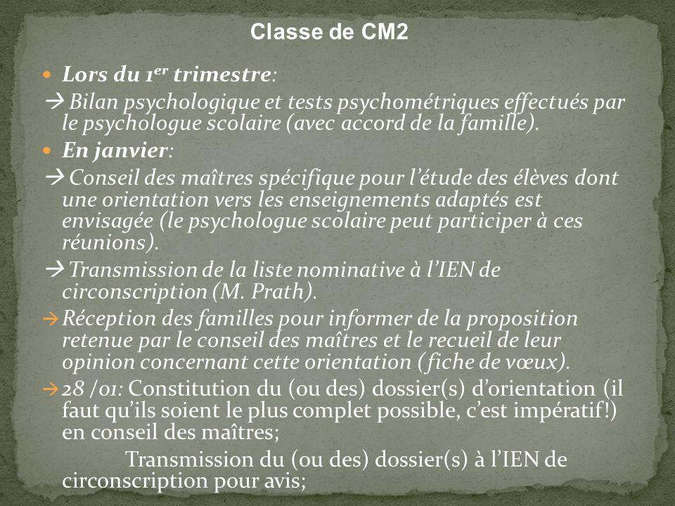 Classe de CM2 Lors du 1 er trimestre: Bilan psychologique et tests psychométriques effectués par le psychologue scolaire (avec accord de la famille).