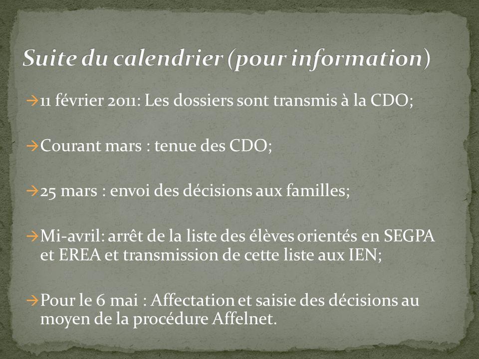 11 février 2011: Les dossiers sont transmis à la CDO; Courant mars : tenue des CDO; 25 mars : envoi des décisions aux familles; Mi-avril: arrêt de la