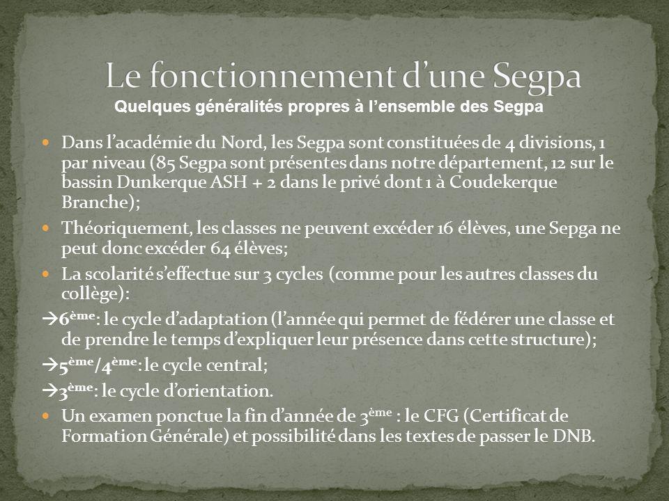 Dans lacadémie du Nord, les Segpa sont constituées de 4 divisions, 1 par niveau (85 Segpa sont présentes dans notre département, 12 sur le bassin Dunk