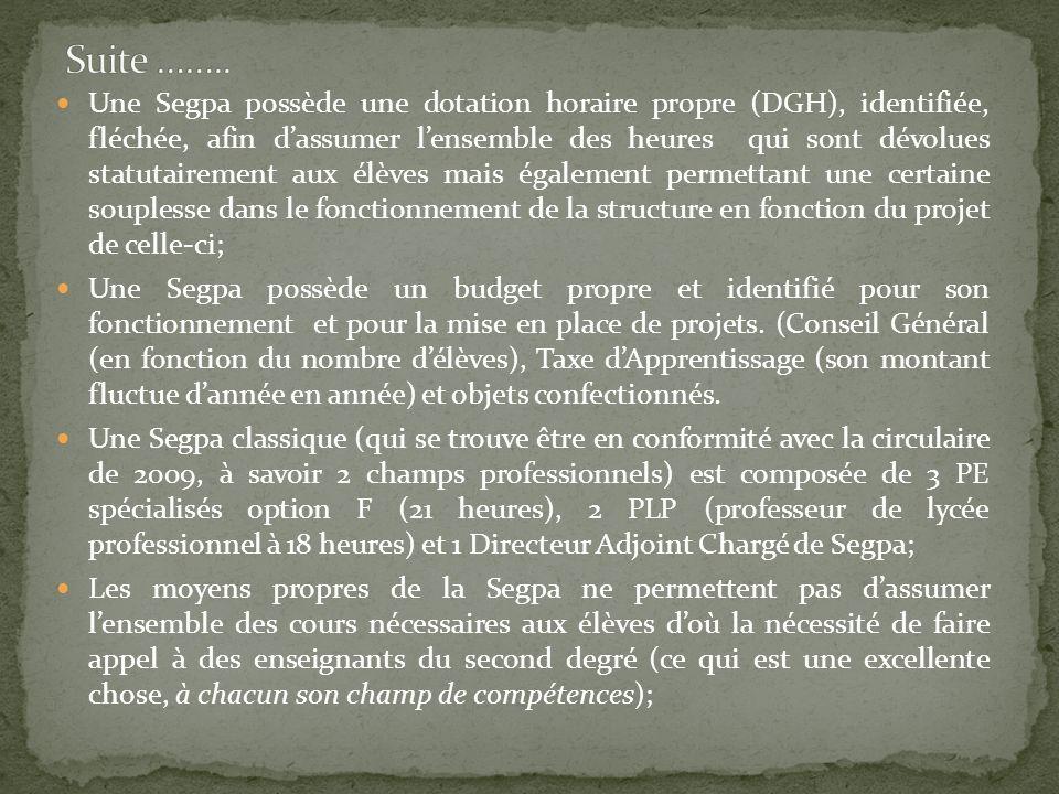 Une Segpa possède une dotation horaire propre (DGH), identifiée, fléchée, afin dassumer lensemble des heures qui sont dévolues statutairement aux élèv