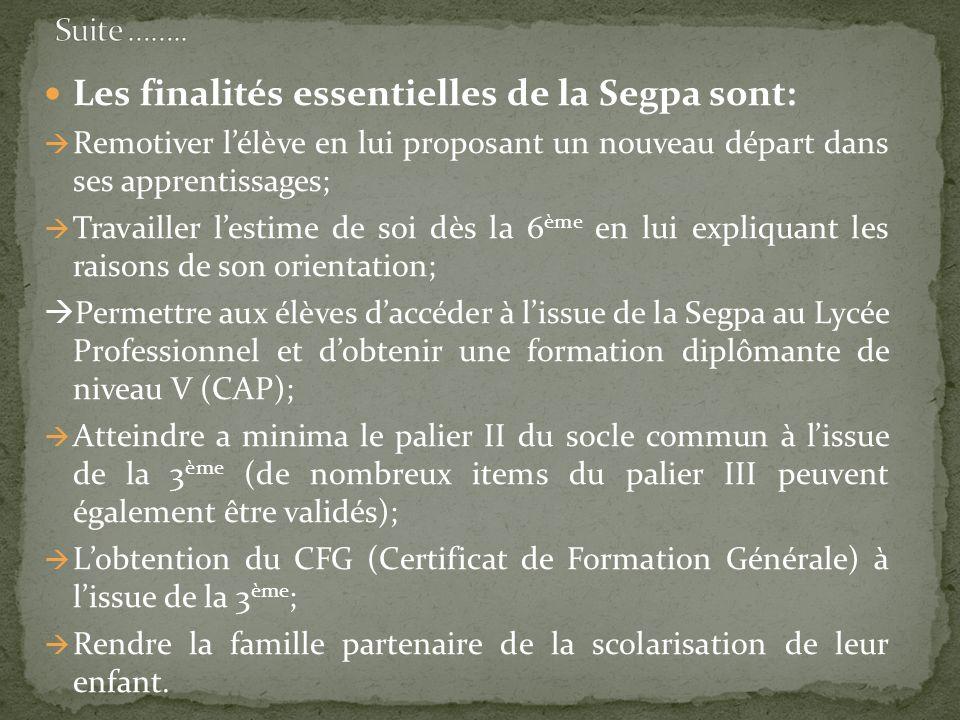 Les finalités essentielles de la Segpa sont: Remotiver lélève en lui proposant un nouveau départ dans ses apprentissages; Travailler lestime de soi dè