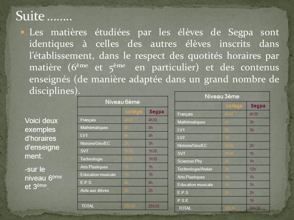 Les matières étudiées par les élèves de Segpa sont identiques à celles des autres élèves inscrits dans létablissement, dans le respect des quotités ho