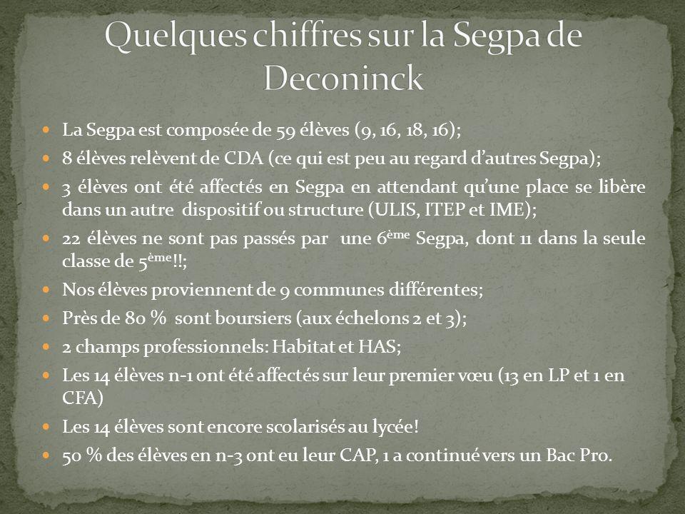 La Segpa est composée de 59 élèves (9, 16, 18, 16); 8 élèves relèvent de CDA (ce qui est peu au regard dautres Segpa); 3 élèves ont été affectés en Se