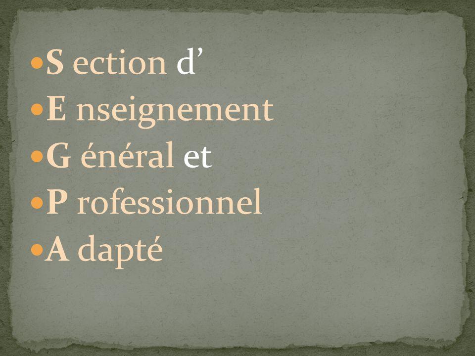 S ection d E nseignement G énéral et P rofessionnel A dapté