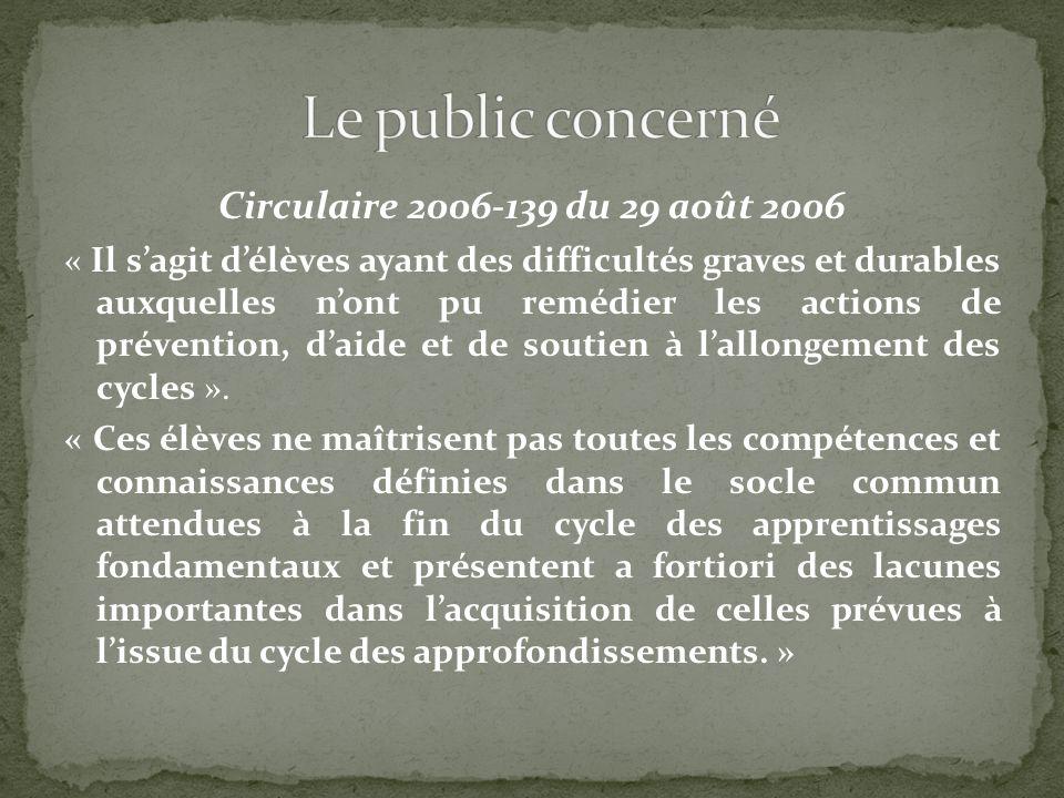 Circulaire 2006-139 du 29 août 2006 « Il sagit délèves ayant des difficultés graves et durables auxquelles nont pu remédier les actions de prévention,