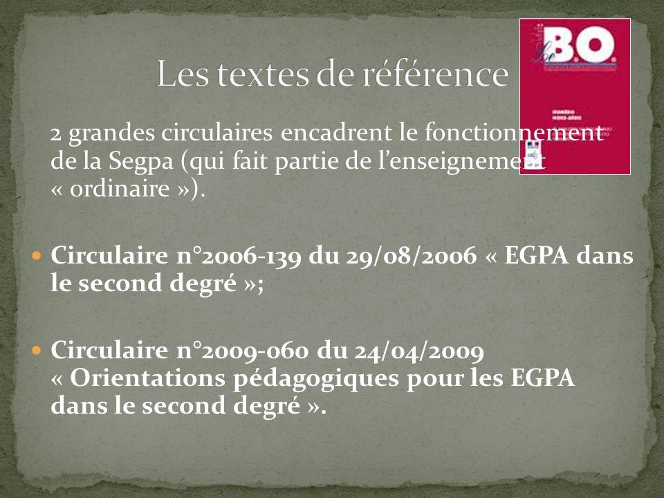 2 grandes circulaires encadrent le fonctionnement de la Segpa (qui fait partie de lenseignement « ordinaire »). Circulaire n°2006-139 du 29/08/2006 «