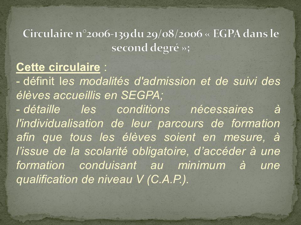 Cette circulaire: - Réaffirme le rôle des Segpa au sein du système éducatif français pour des élèves en difficultés graves et durables dapprentissage; - Décrit les principes dorganisation pédagogique au sein des Segpa (DGH identifiée, les horaires denseignement; la notion déquipe resserrée …); - Précise les objectifs par niveau et les outils de suivi des élèves (en particulier le livret de compétences); - Précise le rôle de la Segpa dans laccès à une formation professionnelle de niveau V.