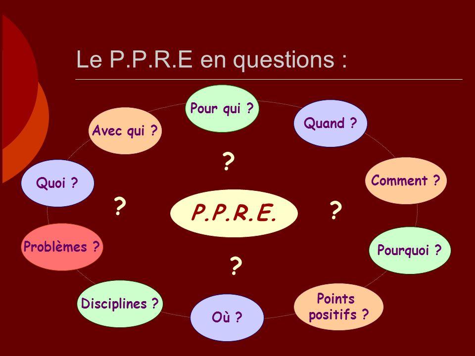 Le P.P.R.E en questions : Disciplines .Où . Quoi .