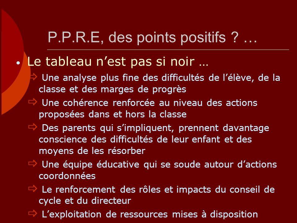 P.P.R.E, des points positifs ? … Une analyse plus fine des difficultés de lélève, de la classe et des marges de progrès Une cohérence renforcée au niv