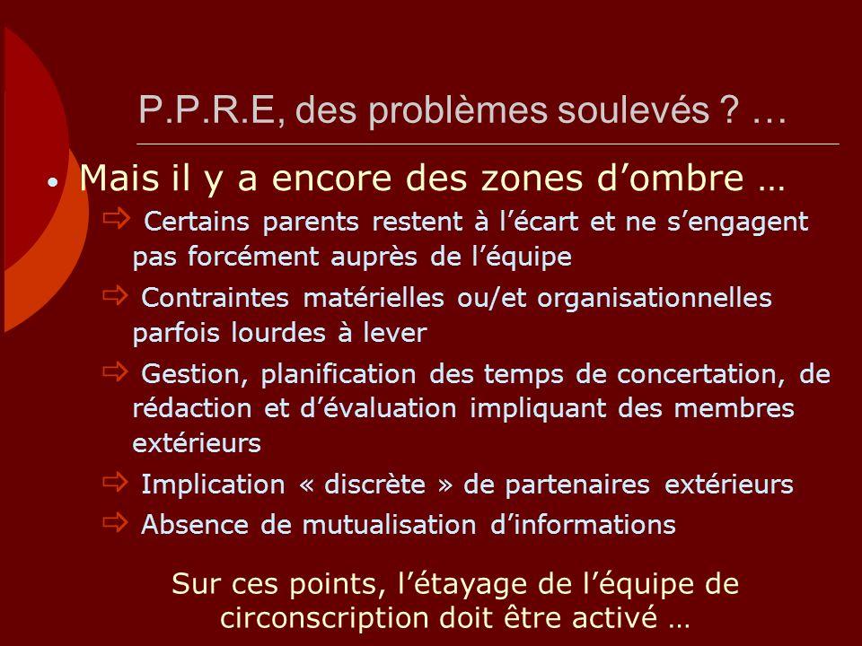 P.P.R.E, des problèmes soulevés ? … Certains parents restent à lécart et ne sengagent pas forcément auprès de léquipe Contraintes matérielles ou/et or