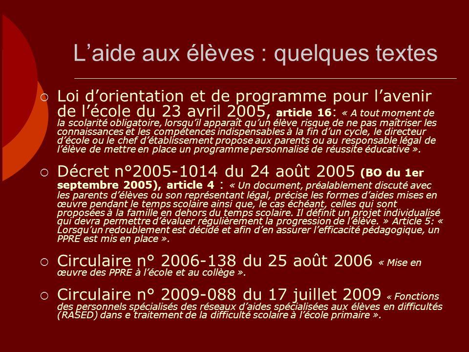 Laide aux élèves : quelques textes Loi dorientation et de programme pour lavenir de lécole du 23 avril 2005, article 16 : « A tout moment de la scolar