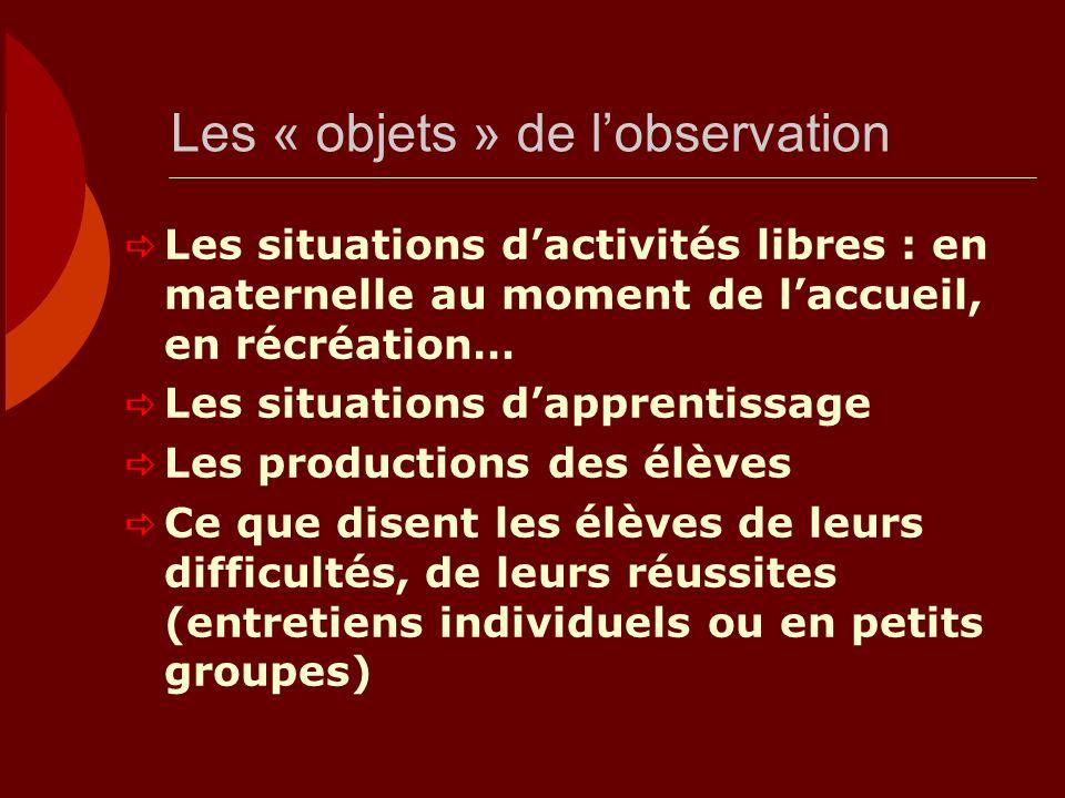 Les « objets » de lobservation Les situations dactivités libres : en maternelle au moment de laccueil, en récréation… Les situations dapprentissage Le