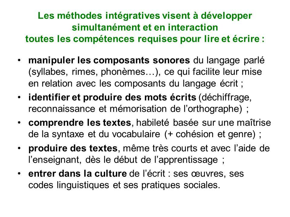 Les méthodes intégratives visent à développer simultanément et en interaction toutes les compétences requises pour lire et écrire : manipuler les comp