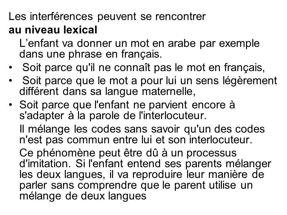Les interférences peuvent se rencontrer au niveau lexical Lenfant va donner un mot en arabe par exemple dans une phrase en français. Soit parce qu'il