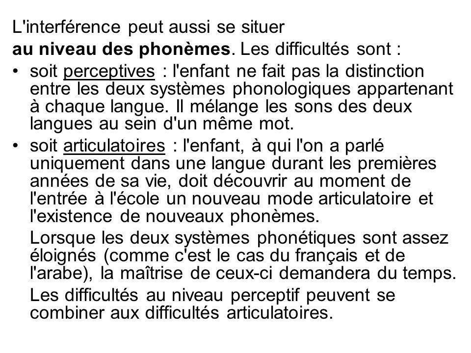 L'interférence peut aussi se situer au niveau des phonèmes. Les difficultés sont : soit perceptives : l'enfant ne fait pas la distinction entre les de