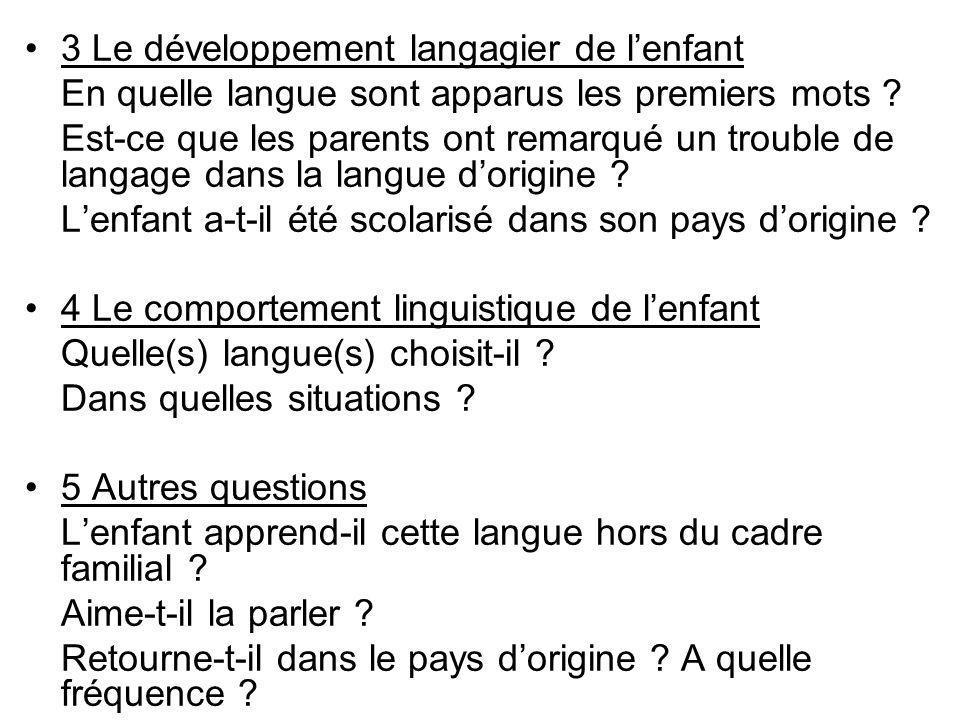 3 Le développement langagier de lenfant En quelle langue sont apparus les premiers mots ? Est-ce que les parents ont remarqué un trouble de langage da