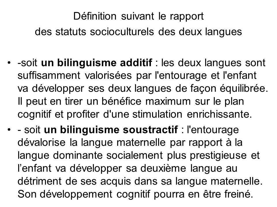 Définition suivant le rapport des statuts socioculturels des deux langues -soit un bilinguisme additif : les deux langues sont suffisamment valorisées