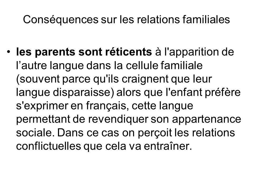 Conséquences sur les relations familiales les parents sont réticents à l'apparition de lautre langue dans la cellule familiale (souvent parce qu'ils c
