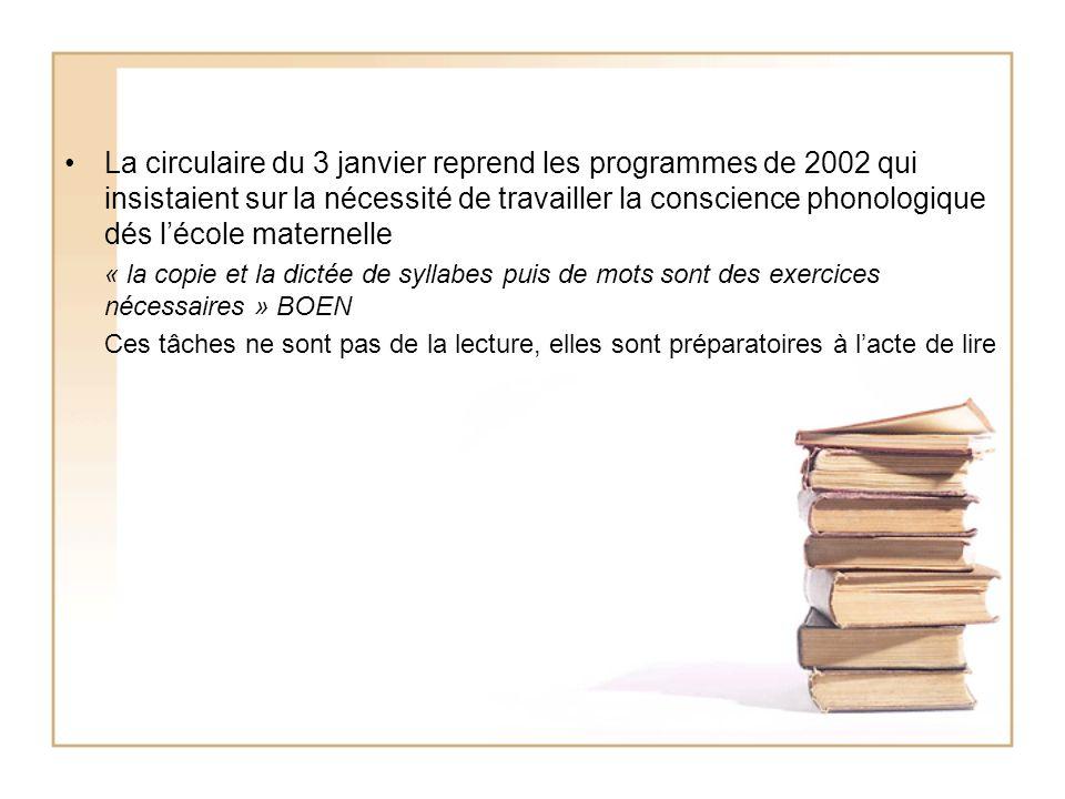 La circulaire du 3 janvier reprend les programmes de 2002 qui insistaient sur la nécessité de travailler la conscience phonologique dés lécole materne
