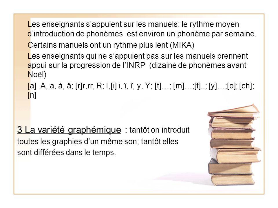 Les enseignants sappuient sur les manuels: le rythme moyen dintroduction de phonèmes est environ un phonème par semaine. Certains manuels ont un rythm