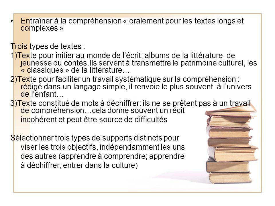Entraîner à la compréhension « oralement pour les textes longs et complexes » Trois types de textes : 1)Texte pour initier au monde de lécrit: albums